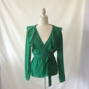 BCBG green, wrap blouse.